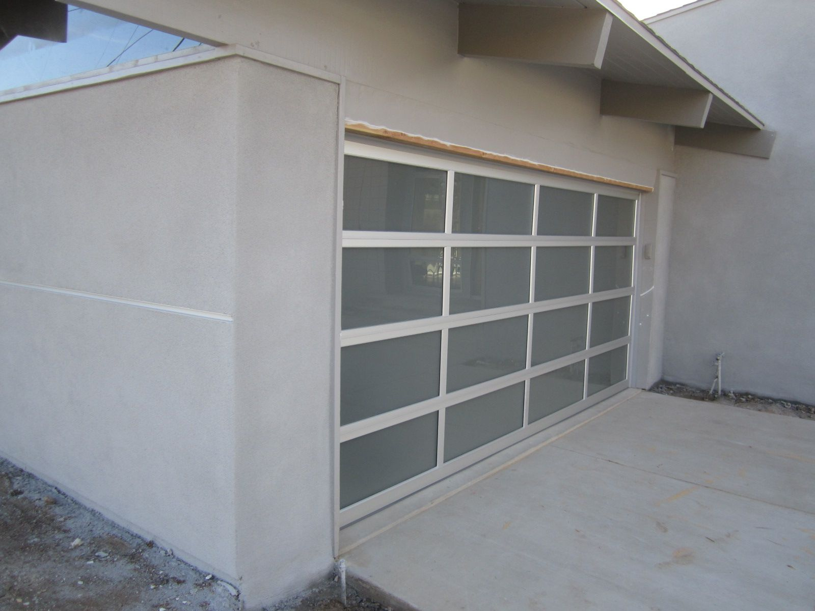 White garage flooring full view frosted glass and aluminum modern