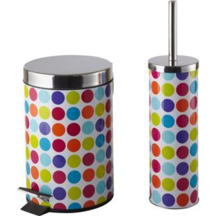 Colourmatch Bathroom Bin And Toilet Brush Set Spots At Argos Co Uk