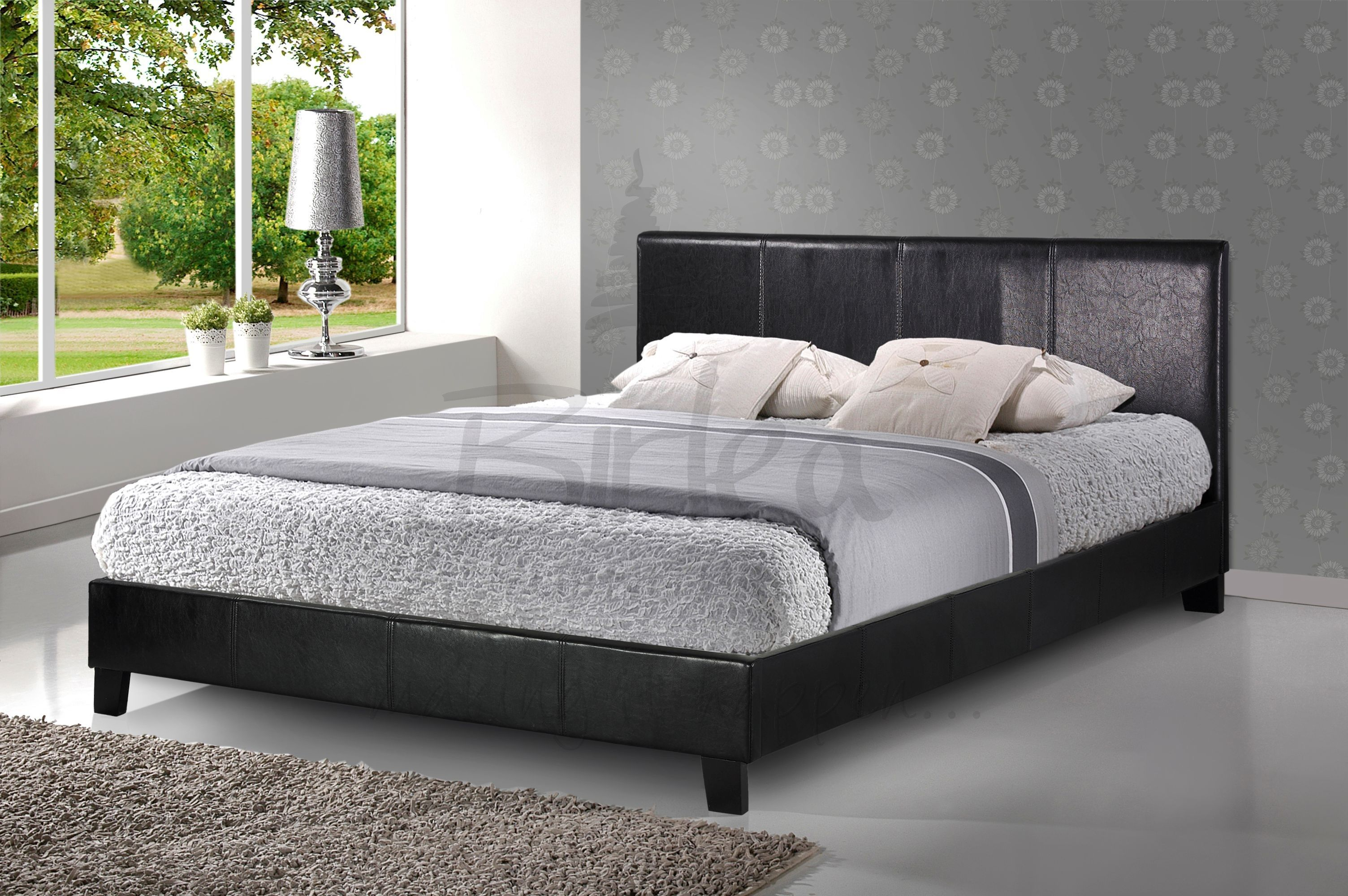 BERLIN Black Faux Leather Bed Frame £95 http://www.expressfurniture ...