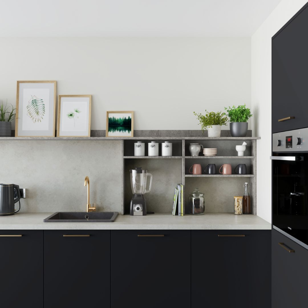 Achieve A Modern Industrial Look With Our Greenwich Super Matt Charcoal Kitchen Contrast The Dark Cabin With Images Charcoal Kitchen Contemporary Kitchen Kitchen Fittings