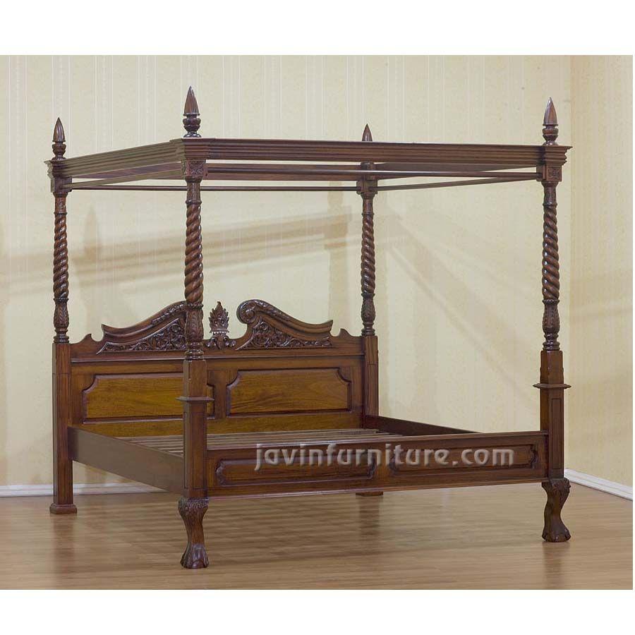 - Queen Canopy Bed Black Wood Bedroom Furniture: Queen Canopy Bed