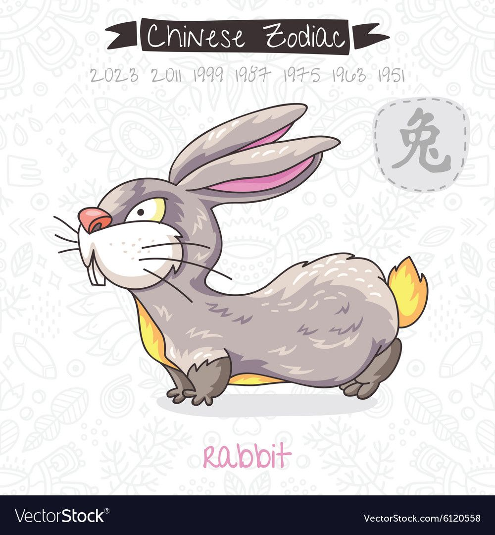 Chinese Zodiac Sign Rabbit vector image on Chinese