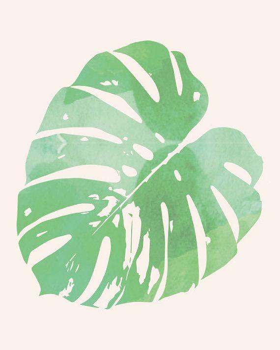 Green Watercolor Monstera Leaf INSTANT by AzzariJarrettDesigns - editable leaf template