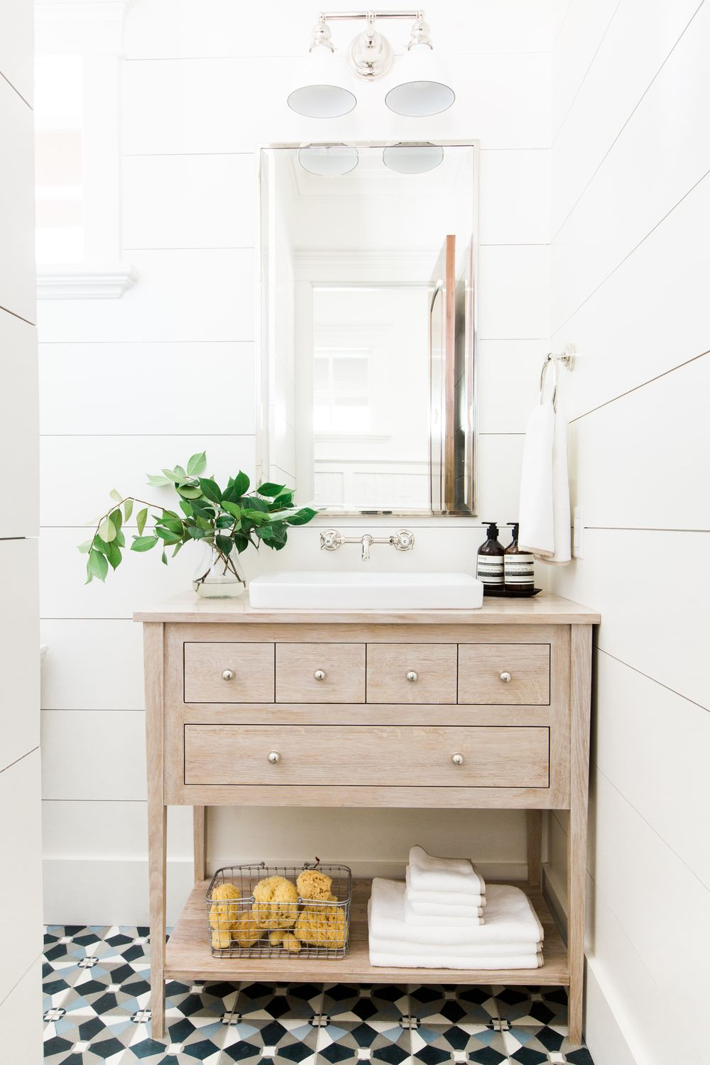 Mountainside remodel studio mcgee tile flooring and cement for Bathroom ideas with shiplap