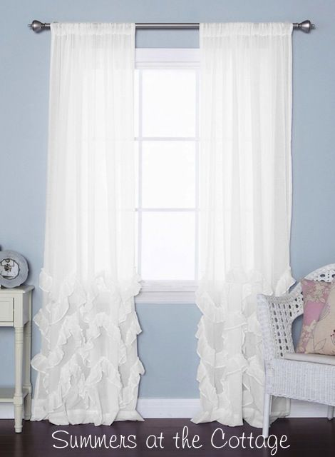 White French Ruffle Curtains Drapes Set Of Two In 2019 Beach