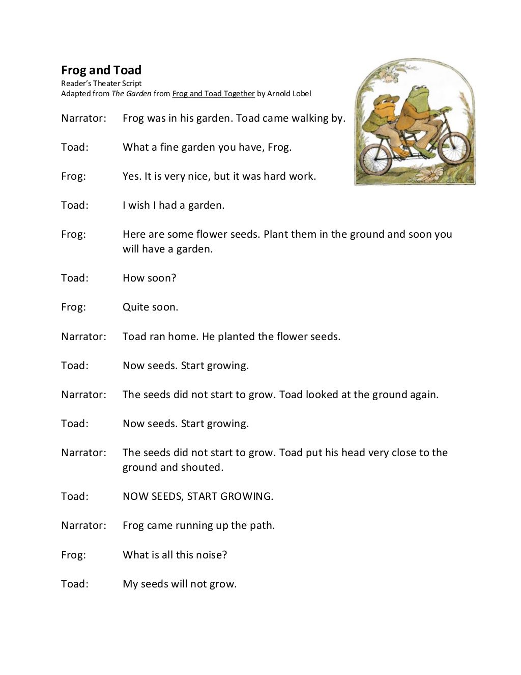 Frog And Toad Reader S Theater Script Adapted From The