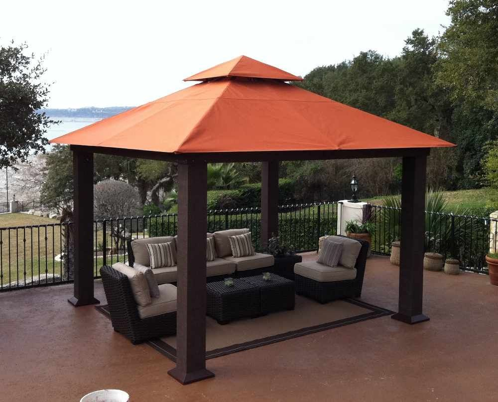 Seville 12 x 12 Soft Top Gazebo & Wood Gazebos and Canopies | ... Outdoor Canopies » Fixed Leg ...