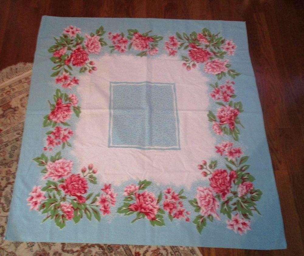 Vintage Mid-Century Turquoise Rose Floral Bouquet Cotton Tablecloth 45 x 43 1/2