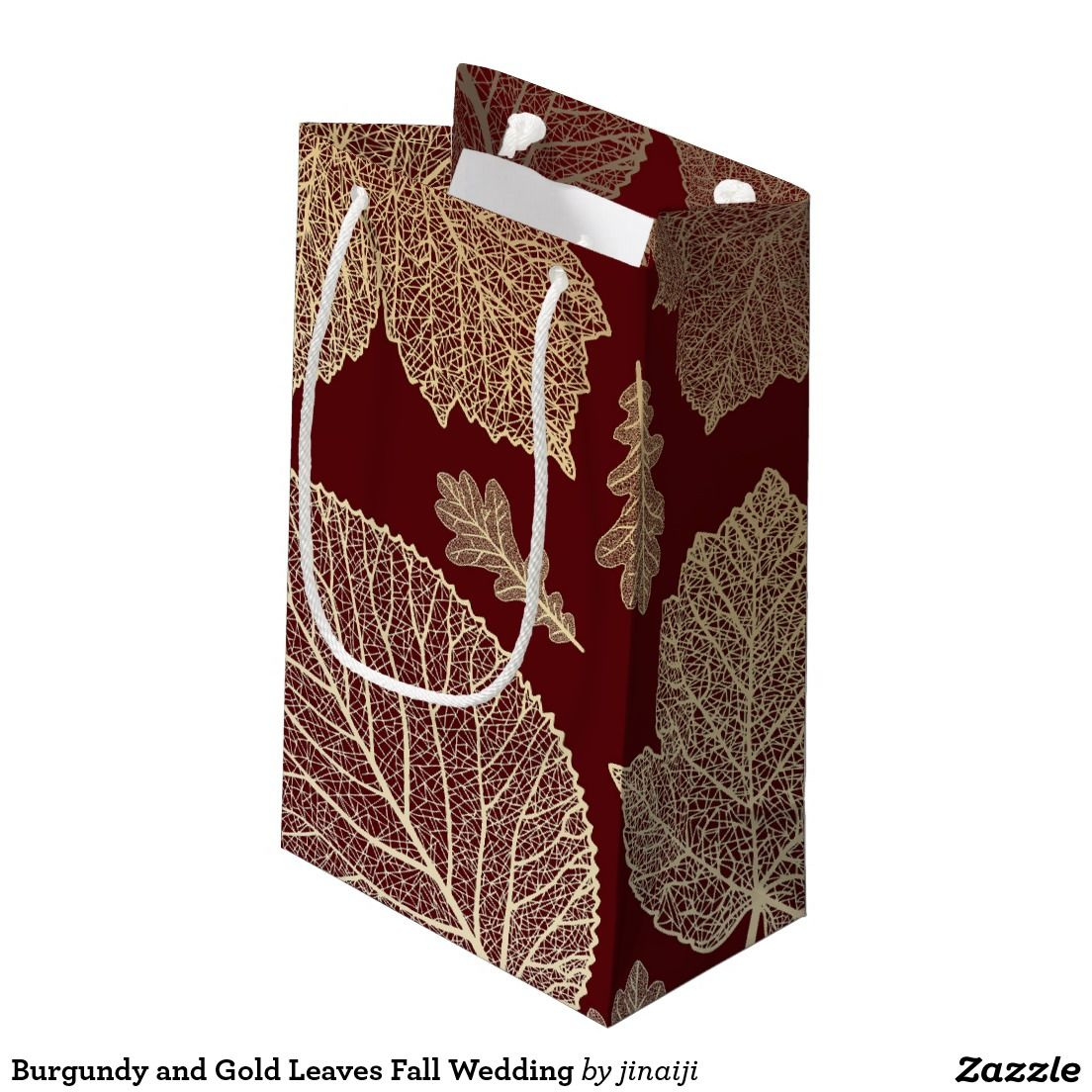 Burgundy and Gold Leaves Fall Wedding Small Gift Bag   { Wedding ...