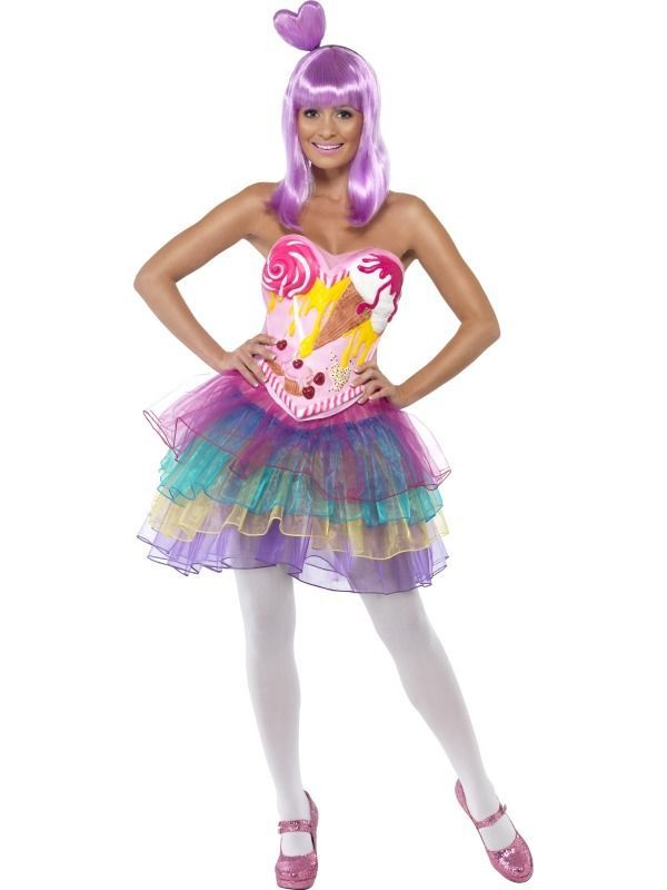 Ladies Candy Queen Costume Katy Perry Pop Star Music Icon Fancy Dress Outfit 7bd035761