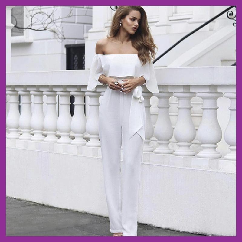 f9b9977a02 Amazon hot White Jumpsuit Body Suits For Women Sexy Bodysuit Onesie Tuta  Macacao Feminino Longo Enterizo