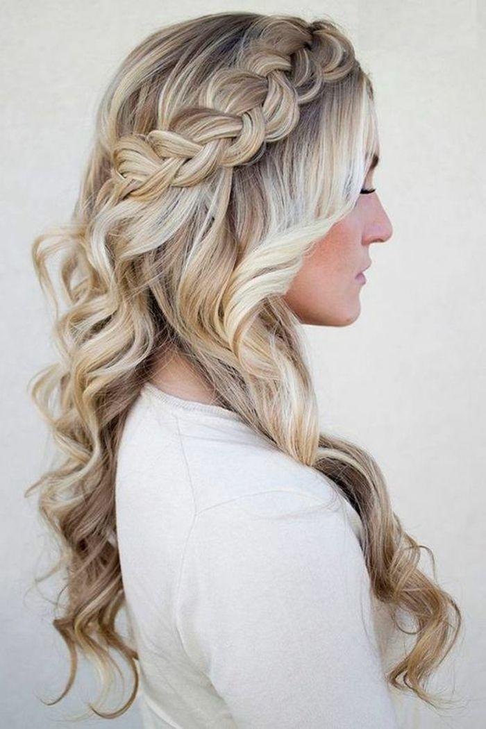 1001 Idees De Coiffure Avec Une Tresse Collee Les Etapes Pour La Realisation Coiffure Mariage Coiffure Idees Cheveux Longs