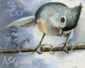 5x5 Inch Miniature Art  Print Tufted Titmouse by Melody Lea Lamb