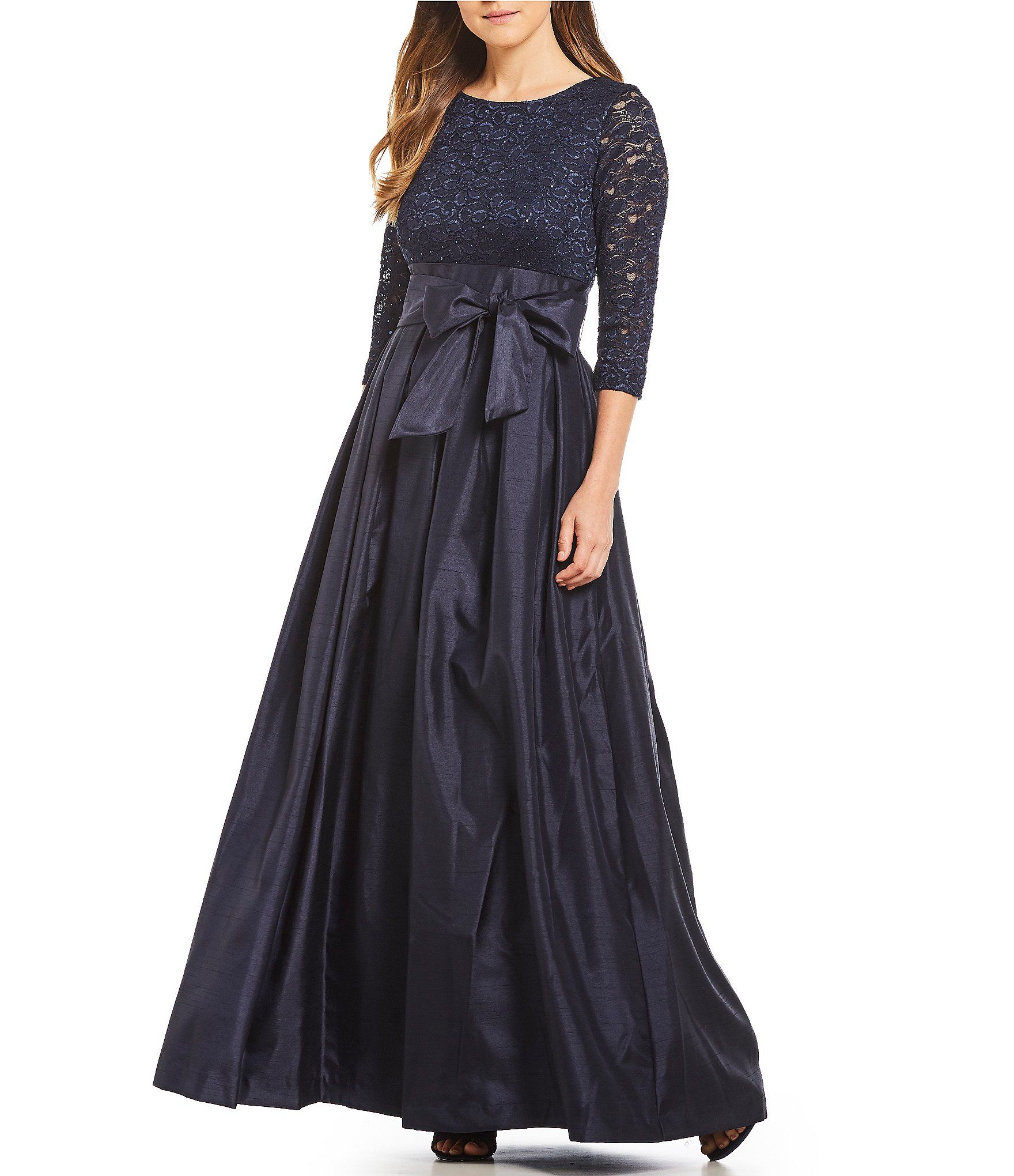cf3b533ca4b6 Jessica Howard Pleated Skirt Bow Tie Waist Ball Gown #Dillards ...