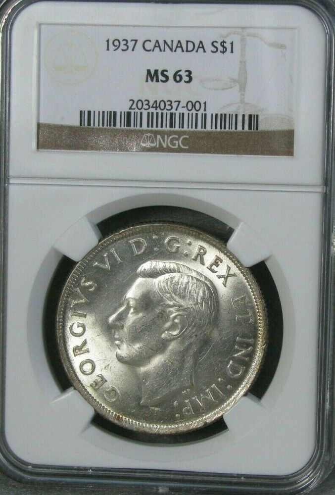 1937 Canada Silver 1 One Dollar Crown Ngc Certified Ms 63 Pq Canadian Coin Ebay In 2020 Canadian Coins World Coins Coins