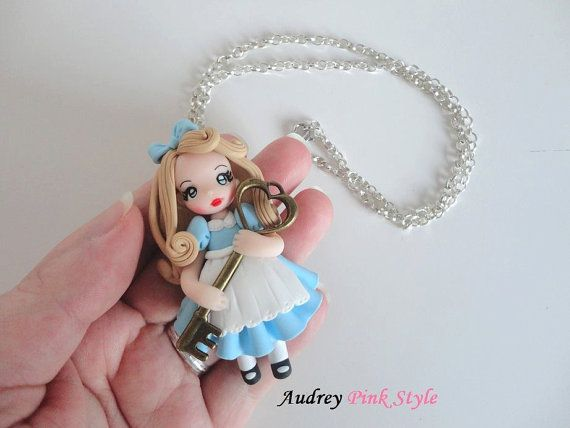 necklace alice in wonderland kawaii cute polymer clay cameo bronze ooak doll fairy tale jewelry. Black Bedroom Furniture Sets. Home Design Ideas