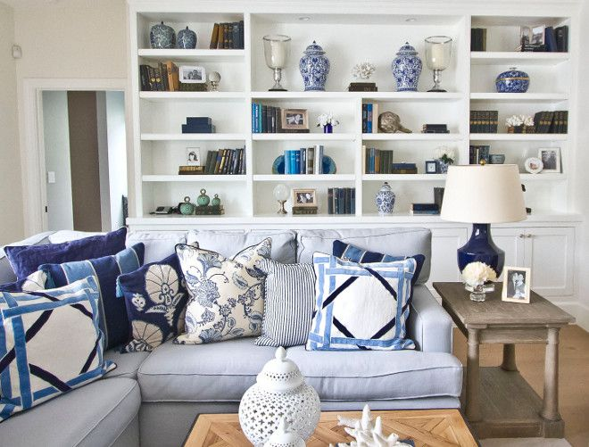 Sectional With Blue And White Pillows Pillows On Sectional How To Style Pillows On Section Paint Colors For Living Room Family Living Rooms Living Room Decor