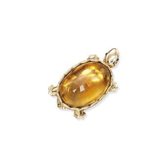 Latest Design 3pcs Luxury Bright Gold Citrine Gems Silver Necklaces Pendant
