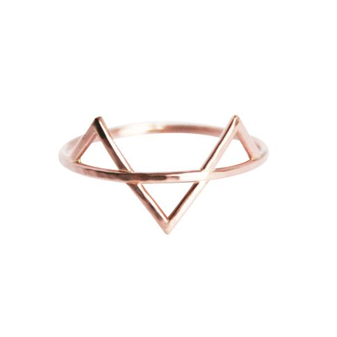 Modern minimalist spike ring featuring three spikes in hand hammered Rose Gold by Stefanie Sheehan