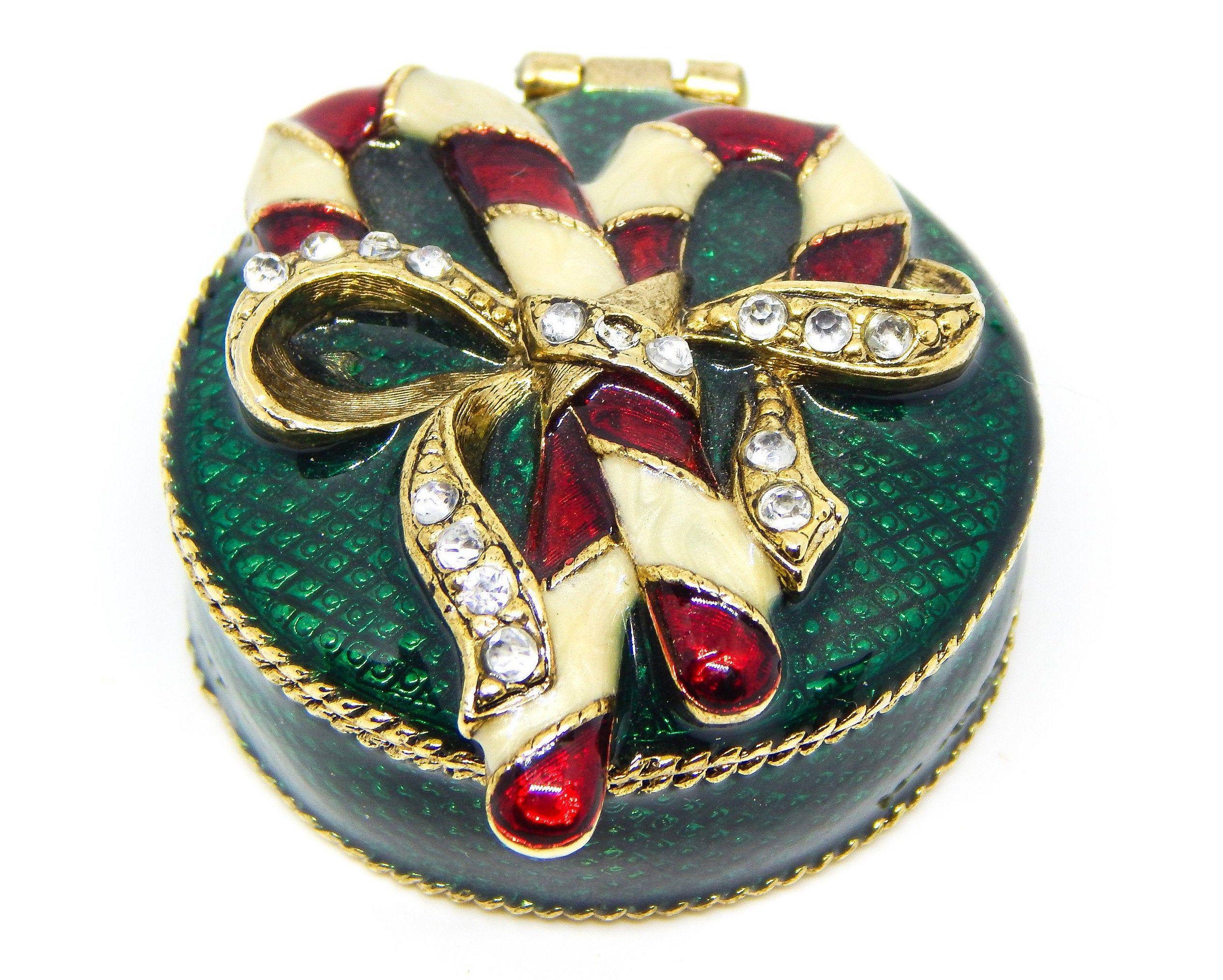 Candy cane trinket box christmas pill box christmas etsy