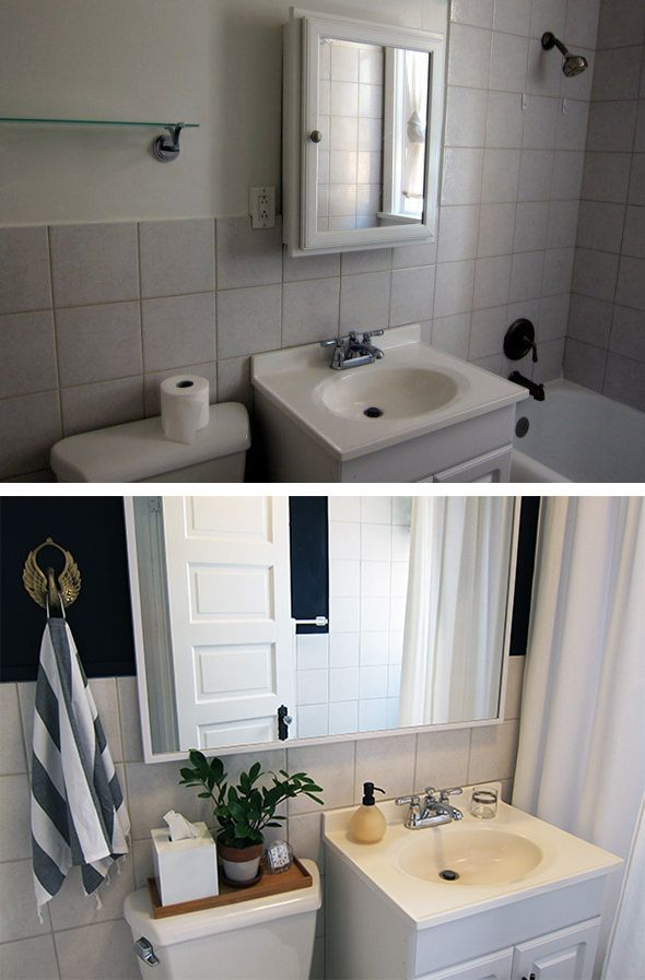 rental bathroom before after makeover with dark wall paint hanging plants and an