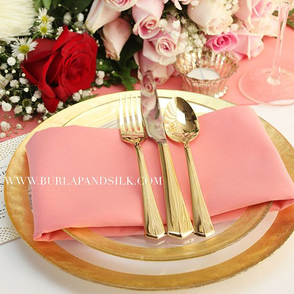 Coral + Gold Weddings. Coral Napkins and Table Runners from Burlap and Silk. http://www.burlapandsilk.com/coral-table-linens/