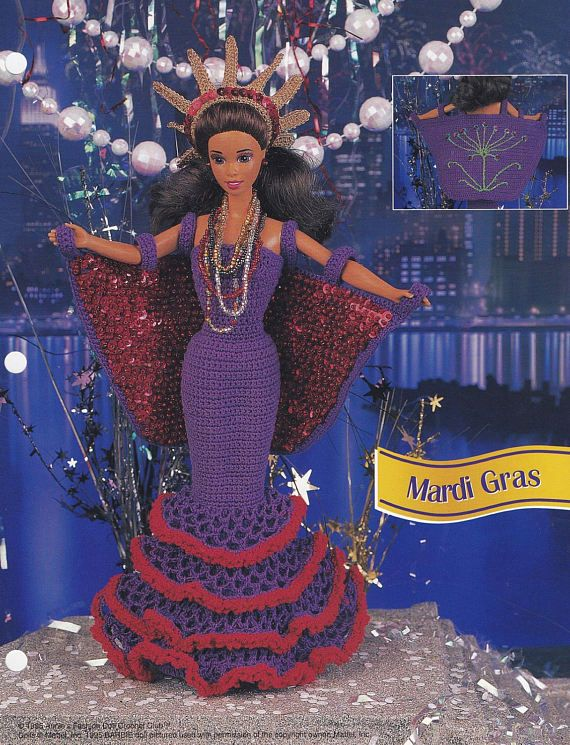 Mardi Gras, Annie\'s Attic Crochet Fashion Doll Clothes Pattern ...