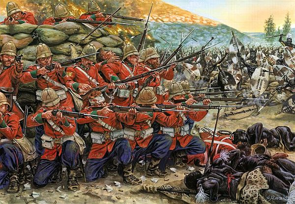 "The Battle of Rorke's Drift. The Zulu attitude towards firearms was that: ""The generality of Zulu warriors, however, would not have firearms – the arms of a coward, as they said, for they enable the poltroon to kill the brave without awaiting his attack."" Even though their fire was not accurate, it was responsible for five of the seventeen British deaths at Rorke's Drift."