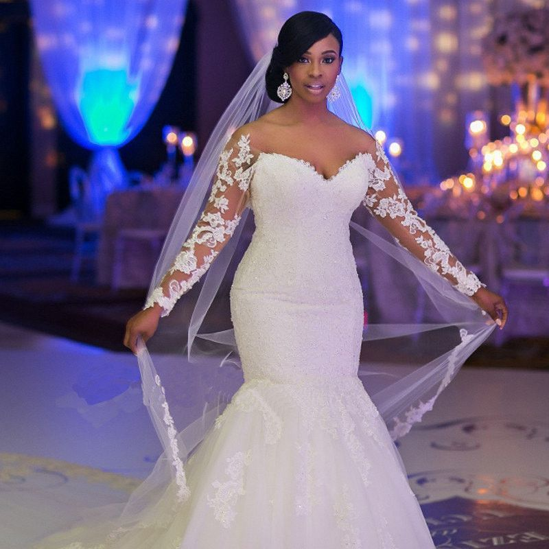Long Sleeves Mermaid Lace Wedding Dress at Bling Brides Bouquet ...