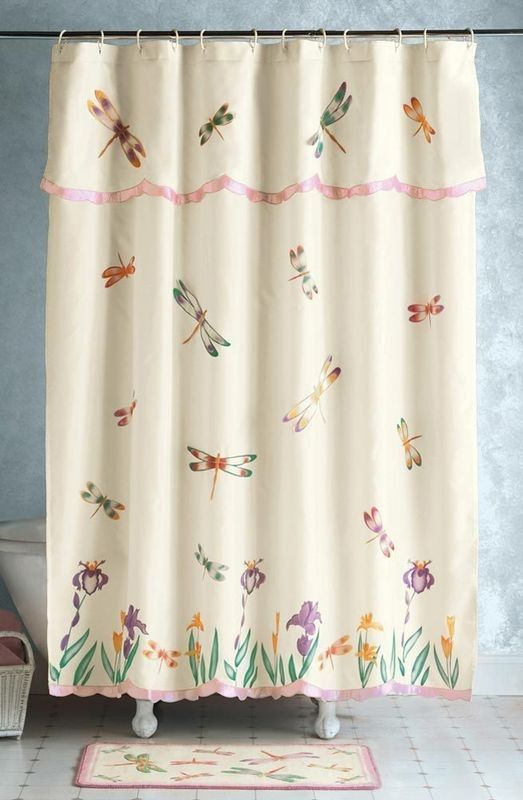 Victorian Pink & Ivory Floral Fabric Shower Curtain and Hook Set NEW ...