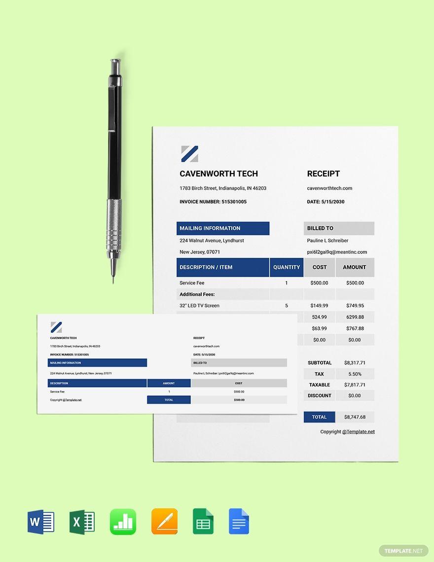 Basic It Receipt Template Free Pdf Word Doc Excel Apple Mac Pages Google Docs Apple Mac Numbers Receipt Template Templates Word Doc