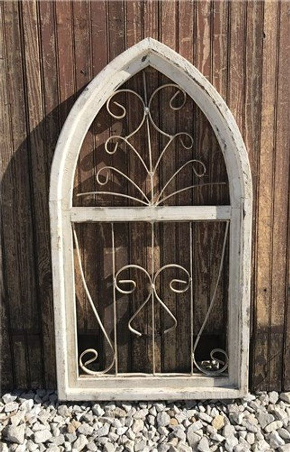 Arched White Gothic Church Window Frame, Architectural ...