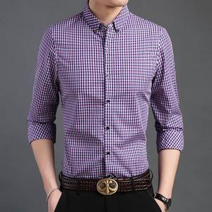 Men's Plaid Long Sleeve Slim Fit Streetwear High quality plaid casual shirts #men#39;ssuits