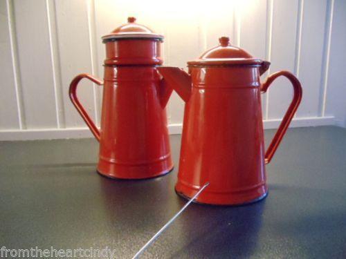 { 1 } Vintage French Enamelware red Enamel Coffee Pot or Tea. Great shape