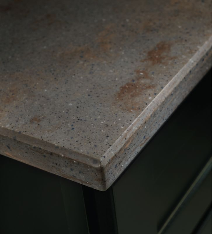 Detail Of Ashen Aria With Bevel Edge Countertop Solidsurface
