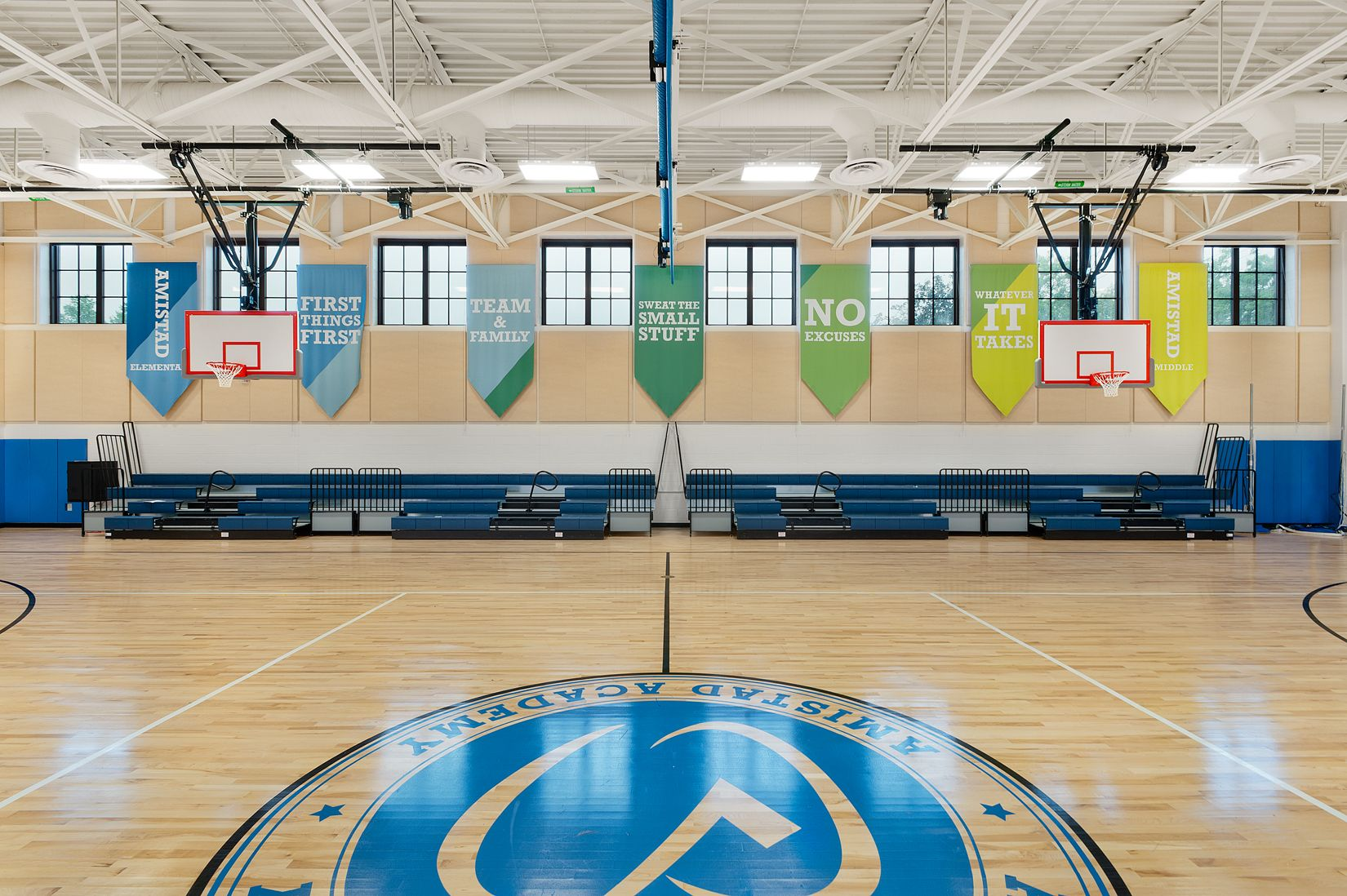 Amistad Academy S Gym Banners In New Haven Ct Gym Banner Environmental Graphic Design One Team