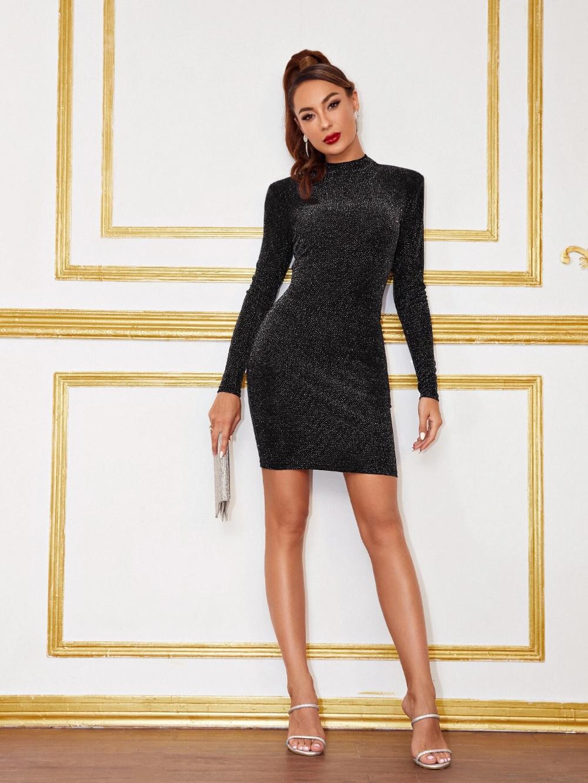 Keyhole Back Glitter Bodycon Dress Shein Bodycon Dress Dresses Bodycon [ 1332 x 1000 Pixel ]
