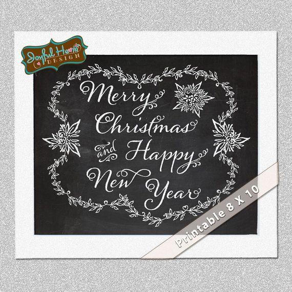 Merry Christmas Chalk Art chalkboard 8 x 10 or 5 x 7 sign by JoyfulHeartDesign, $8.00
