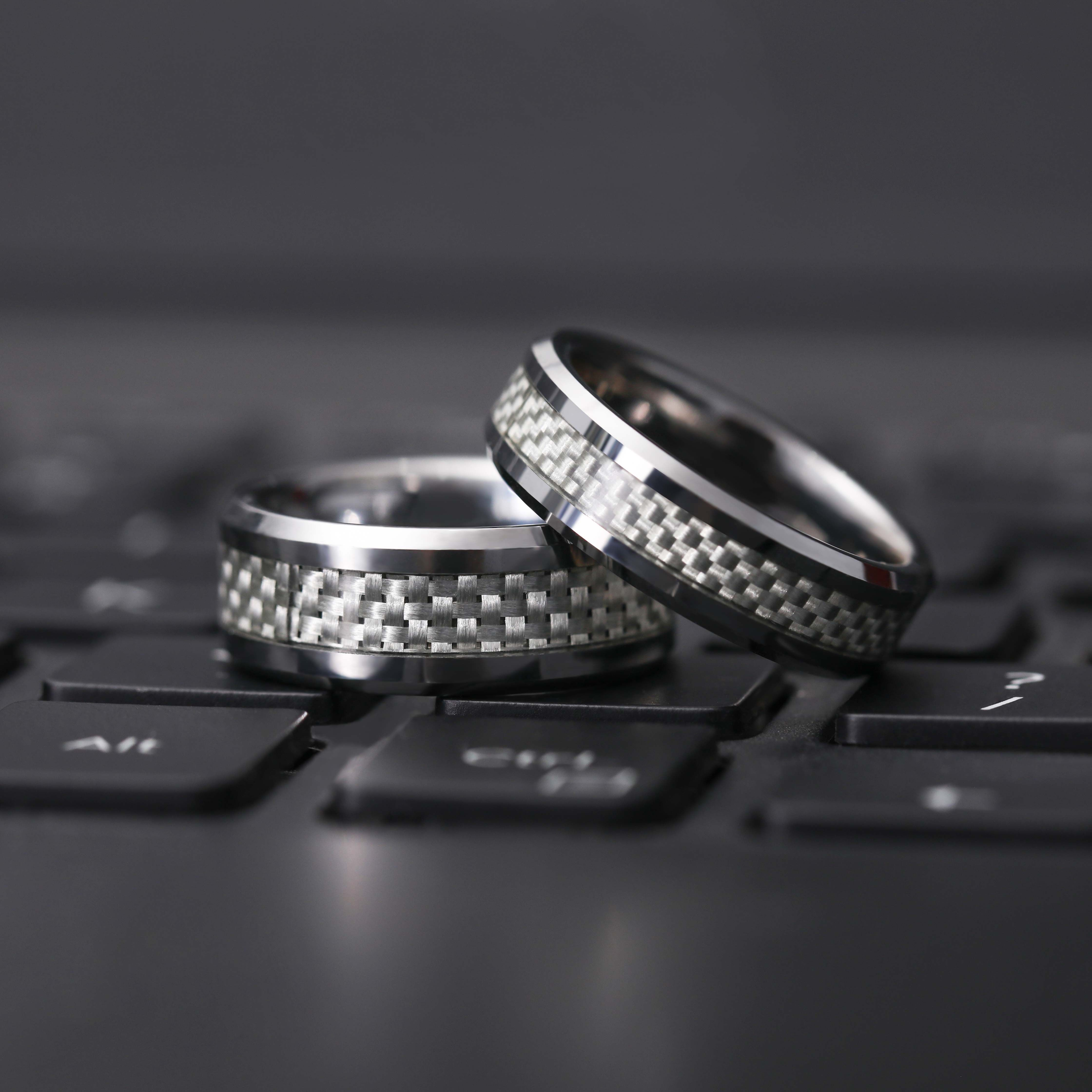 Simple Engagement Rings with White Carbon Fiber Wedding
