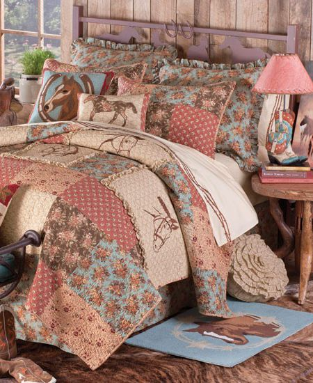 whispering pines cowgirl western bedding