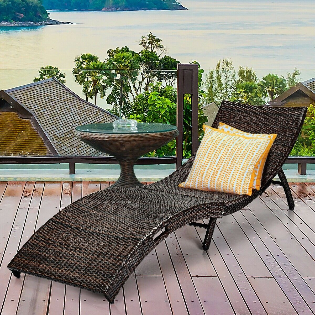 Outdoor Couch Bed Patio Folding Rattan Lounge Chair