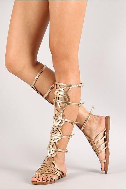 6278a504e6c Gold Strappy Knee High Open Toe Gladiator Buckles Flat Sandals Padded SOLO   Breckelles  Gladiator
