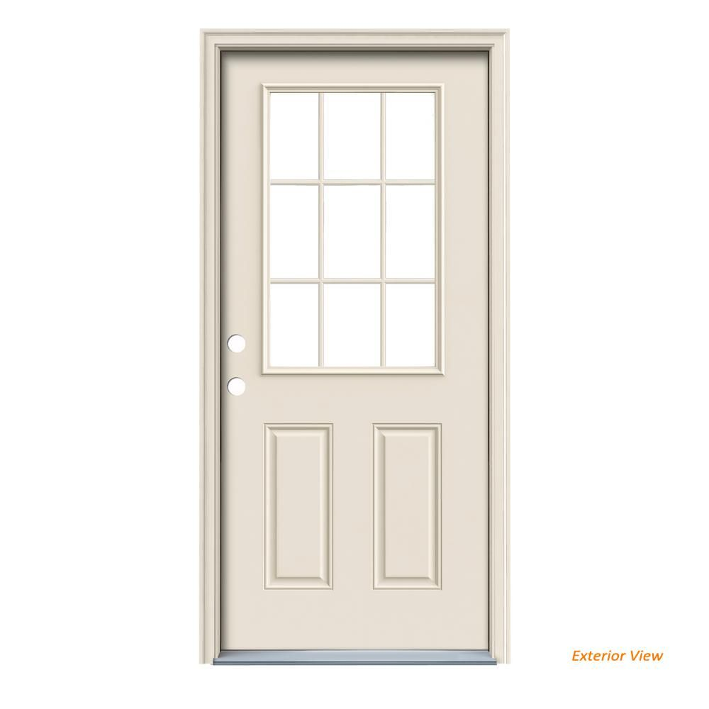 32 In X 80 In Primed Right Hand Inswing 9 Lite Clear Steel Prehung Front Door With Brickmould 769925 Th Entry Doors Exterior Doors Installing Exterior Door