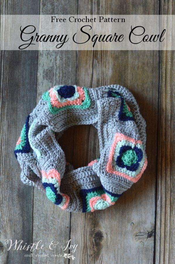 Granny Square Cowl Crochet Pattern | Schals tücher, Schals und Tücher