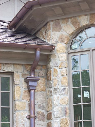 Half Round Copper Gutters With Copper Scupper Gutters House Gutters House Exterior