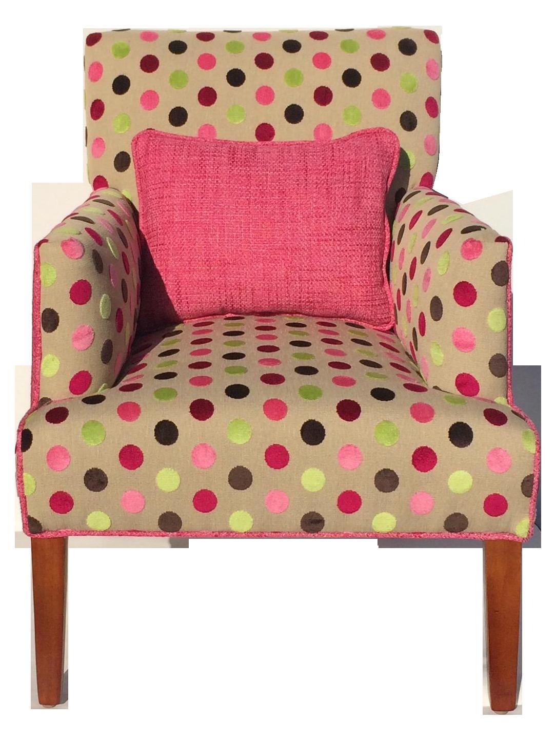 Pink Chenille Polka Dot Upholstered Chair | Chairish
