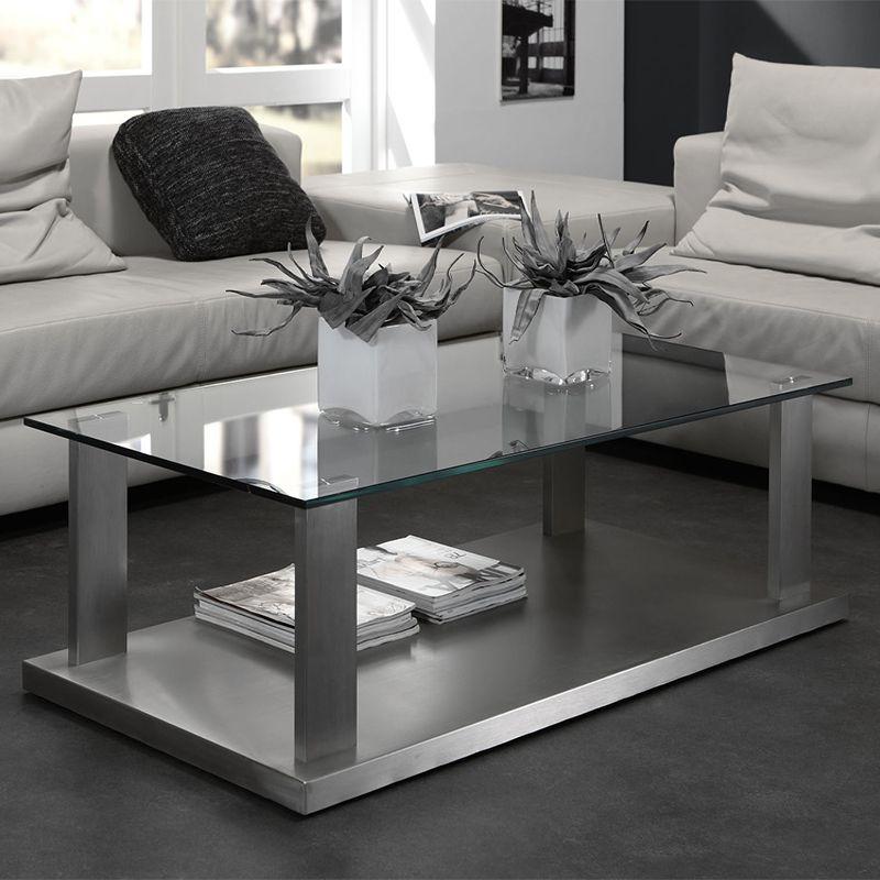 table basse design en verre et inox