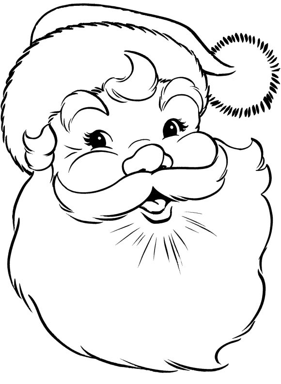 Face of santa claus coloring pages christmas coloring for Santa claus coloring pages online