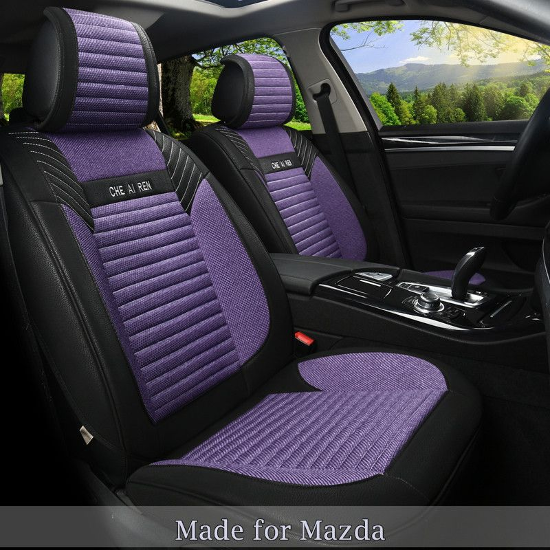 Linen Flax Leather Seat Cover For Mazda2 Mazda 3 5 6 8 CoversBench