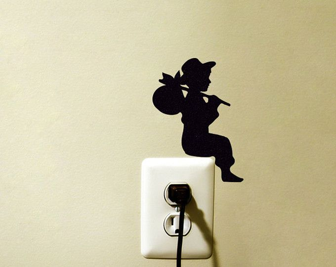 Outlet Switch Velvet Wall Decal - Boy Silhouette Wall Decor - Kid ...
